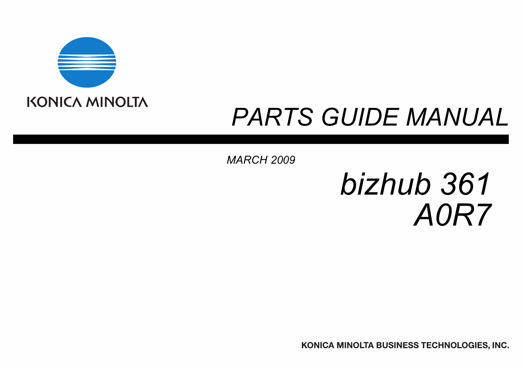 Konica-Minolta bizhub 361 Parts Manual